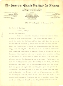 Letter from The American Church Institute for Negroes to W. E. B. Du Bois