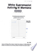 White supremacist activity in Montana