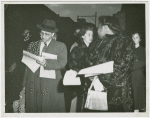 Bessie Mitchell distributing posters and handbills in Trenton, New Jersey, Nov. 1949