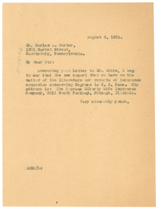 Letter from W. E. B. Du Bois to Harlan A. Carter