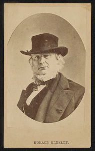 [Journalist and abolitionist Horace Greeley wearing hat]
