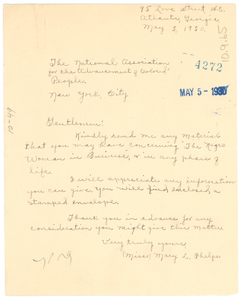 Letter from Mary L. Phelps to the NAACP