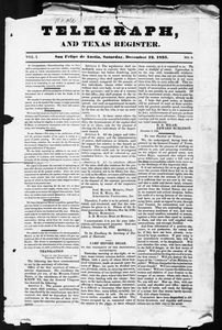 Telegraph and Texas Register (San Felipe de Austin [i.e. San Felipe], Tex.), Vol. 1, No. 9, Ed. 1, Saturday, December 12, 1835 Telegraph and Texas Register
