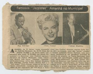 """Newspaper clipping featuring Roy Eldridge, Chris Connor, and Coleman Hawkins [Clipping: {{{Famosos """"Jazzistas"""" Amanhã no Municipal}}}] ROYELD_107"""