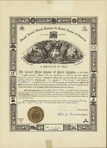Red Cross Degree certificate issued by the Royal Black Institution to John Samuel Loder, 1967 March 24
