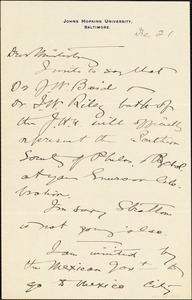 Baldwin, James Mark, 1861-1934 autograph letter signed to Hugo Münsterberg, Baltimore, 21 December