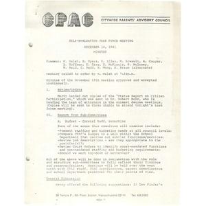 Self evaluation task force meeting December 4, 1981 minutes.