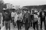 John Lewis (far left) and other marchers during the 20th anniversary reenactment of the Selma to Montgomery March, probably in rural Dallas or Lowndes County, Alabama.