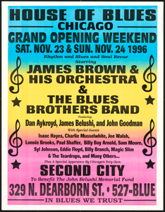 Broadside for the House of Blues featuring a concert by James Brown and others