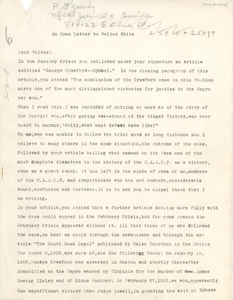 Open letter from Martha Gruening to Walter White