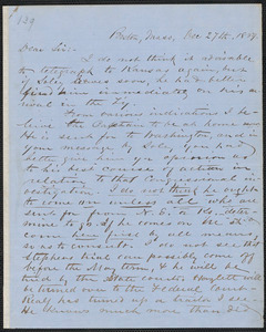 Richard J. Hinton autograph letter signed to Thomas Wentworth Higginson, Boston, 27 December 1859