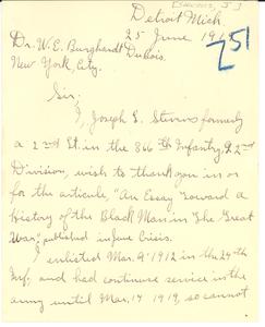 Letter from Joseph L. Stevens to W. E. B. Du Bois