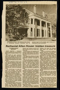 Newton photographs oversize : Allen House : 35 Webster Street / [compiled by the staff of the Newton Free Library]. - Allen House : 35 Webster Street - Nathaniel Allen House : Hidden Treasure