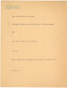 Note from W. E. B. Du Bois to Noel P. Gist
